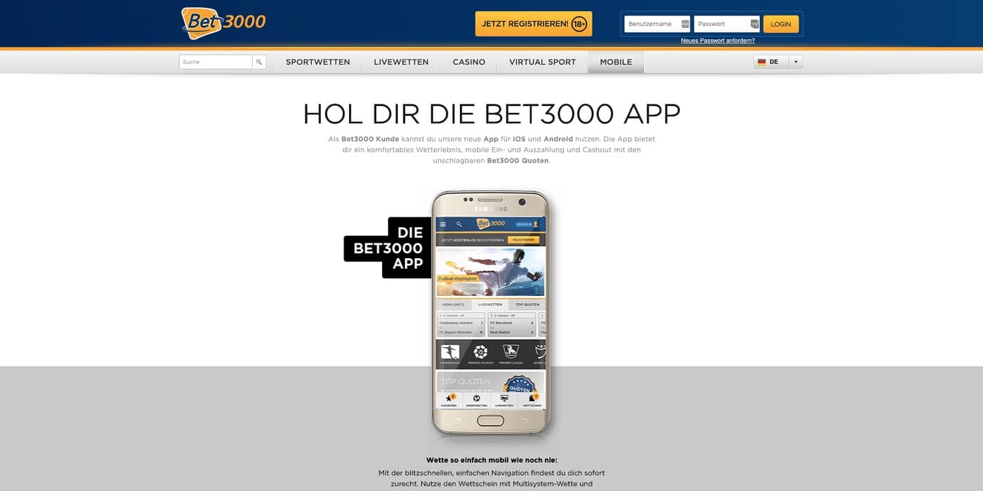 App Bet3000 Casino