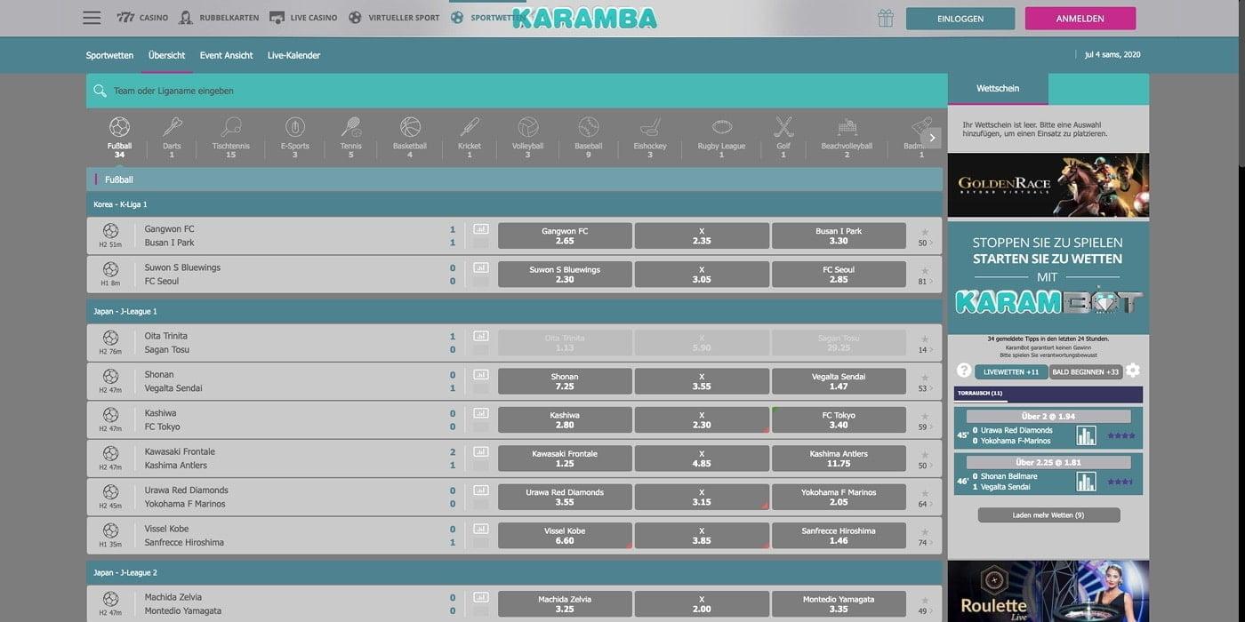 Live-Wetten Karamba