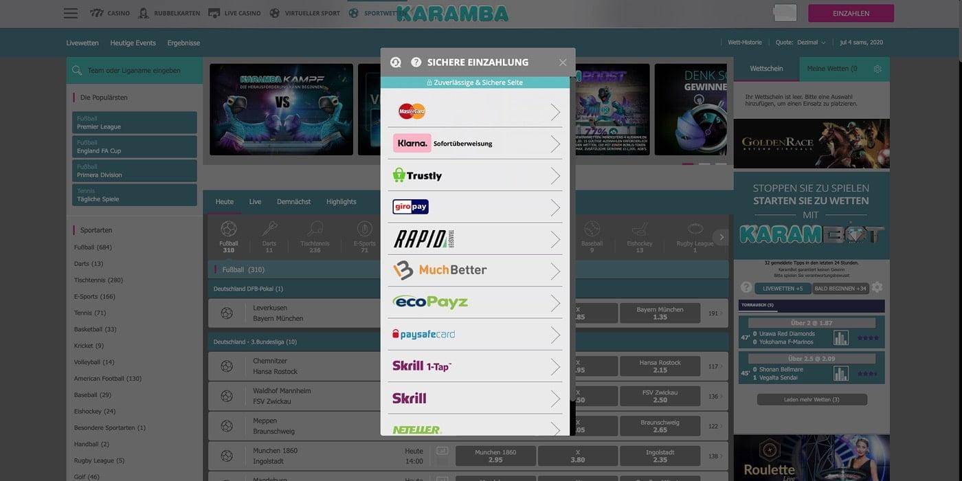 Zahlungsmethoden Karamba