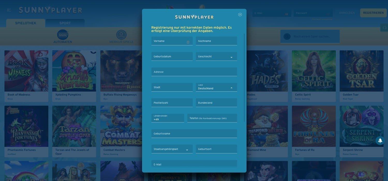 Registrierung Sunnyplayer Casino