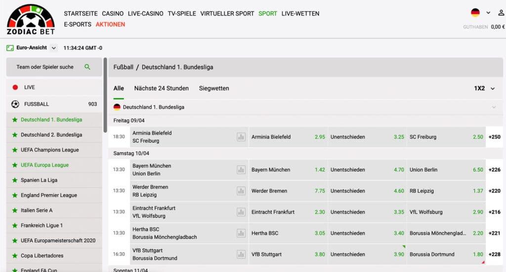 Zodiac Bet Bundesliga Wetten